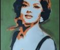 Frank Denota - Gina Lollobrigida - olio e spray su tela cm. 100x120