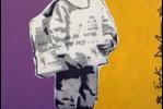 Frank Denota - Paper boy - olio e spray su tela cm. 140x190